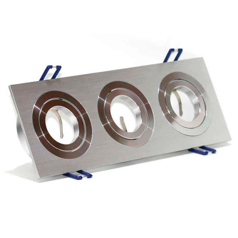 Housing for led downlight x3 adjustable spots square Nickel